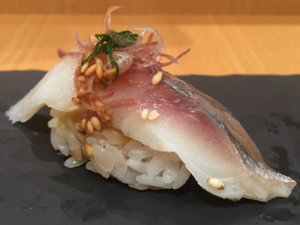 YOSHINO SUSHI aji with ginger flower and oyster