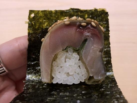 sushi saito HK saba bozushi with seaweed